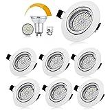 Bojim Lot de 6 Spots LED Encastrables Orientables Dimmables, Luminaires Encastrés GU10 Blanc Neutre 4500K 6W Eqv.54W Lumière