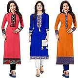 PRAMUKH FASHION Women's Cotton Semi-stitched Kurti (Multicolour, Free Size)- Combo Pack of 3
