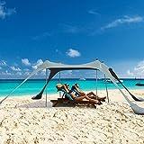 Toldo para playa, para playa, para la familia, refugio para el sol, para exteriores, toldo portátil UPF50+ con pala de arena,