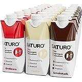 SATURO® Trinkmahlzeit Probierpaket   Proteinreich Mit 330kcal   Vegane Trinknahrung Mit 26 Nährstoffen   24 x 330 ml (Erdbeer