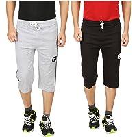 TIRUPUR GUIDEFASHION Mens Cotton Sports Night Capri Black Gray Combo Style - 066