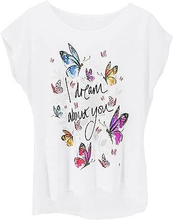 JOPHY & CO. T-Shirt Maglietta Maniche Corte Bianca Donna Made in Italy con Immagine Stampata (cod.9050)