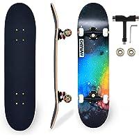 CARINL Skateboard Completo per Professionale, Principianti, Bambino, Giovani, Adulti, Skate- 80 x 20cm Tavola in Acero a…