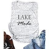 DUDUVIE Lake Mode Tank Tops Women Summer Dresses Funny Racerback Sleeveless Letter Print Vest Tee