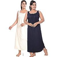 fasla Women's Cotton Fabric Maxi Nightgown