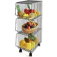 Mocosy Panier en Fil avec Roues et Couvercle, Support Utilitaire de Panier de Fruits Roulant empilable à 3 Niveaux, bac…