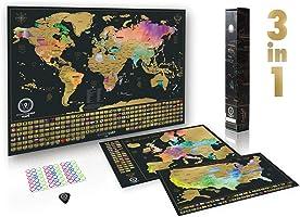 W WANDERLUST MAPS Mappa del Mondo da grattare (61 x 43 CM) + Mappa Europa da grattare (46 x 33 CM). con Accessori e...