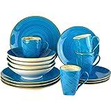 Blanca's Feel Service de table complet moderne en porcelaine Bleu (16 pièces) pour 4 personnes, assiettes plates, assiettes à