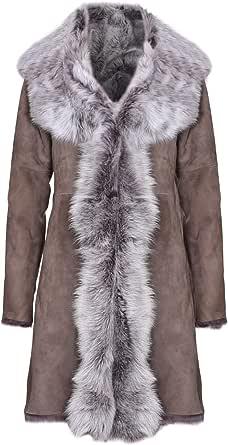 Infnity Leather Impermeabile da Donna Taupe in Vera Pelle Scamosciata da Toscana