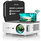 YABER WiFi Bluetooth 5G Beamer 8000 lumen Full HD 1080P hemmabio Beamer, med 4-punkts trapetskorrigering, stöd 4 k & 50 % zoo