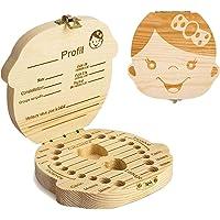 GeekerChip boîte pour dents de lait(fille) cadeau pour enfants en bois de souvenir,boîte en bois pour ranger les dents…