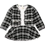 Conjunto de falda a cuadros para bebé niña de manga larga chaqueta abrigo, vestido de fiesta, falda tutú de otoño ropa