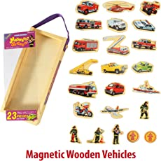 QISIWEI Fire Fighting Wooden Fridge Magnet Magnetic Stickers, 23 Pieces