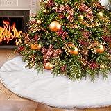 AWLGAK Falda del árbol de Navidad,Snowy White Faux Fur Cubierta de Base Arbol para Navidad Fiesta de año Decoración de Vacaci