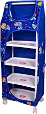 Tender Care Multipurpose 5 Shelve Foldable Almirah/Toy Box (Blue)