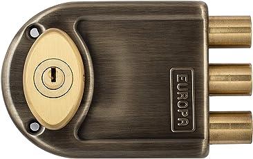 SHAKS TRADERS Stainless Steel Europa Dimple Key Main Door Lock 8123 AB (Silver)