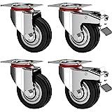 Nirox Set van 4 Zware Wielen 100 mm - Zwenkwielen met rem tot 280 kg - Massief rubber industriële wielen voor binnen en buite