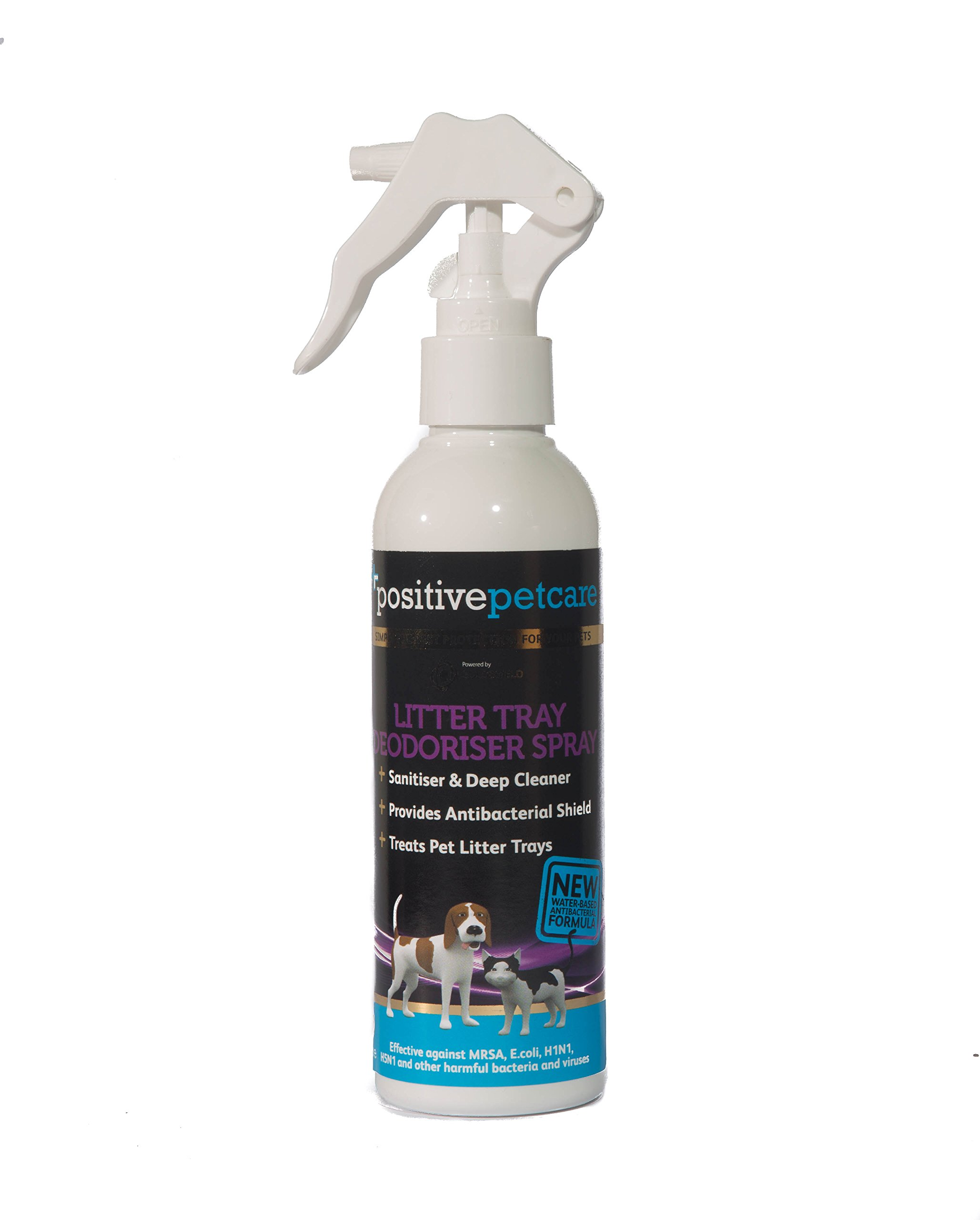 Positive Petcare – Deodorante per lettiera, durata fino a 14 giorni, elimina l'odore di urina e altri cattivi odori grazie alla nuova formula antibatterica a lunga durata, a base d'acqua, sicuro al 100% per gatti, gattini e conigli, in flacone da 200 ml