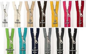 Jajasio Reißverschlüsse Metall, Aluminum, 3 Stück, Reissverschluss Metall NICHT teilbar in 13 Farben