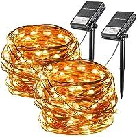 Koopower 2 Stk 100er LED Solar Lichterkette Aussen, 10 Meter Solar und Batteriebetriebene Kupfer Wasserdichte…