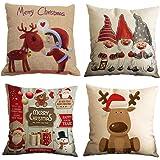 Gspirit Feliz Navidad 4 Pack Encantador Papá Noel Alce Algodón Lino Throw Pillow Case Funda de Almohada para Cojín 45x45 cm