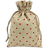 MAGNUS ECO BAGS jute potli bags for return gifts.(10x7 Inches; Red Little Hearts; 10 Pieces)