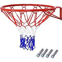COSTWAY Ø 45 cm Basketballring mit Netz, Basketball Korb aus Stahlrahmen und wetterfestes Nylonnetz, Basketballkorb für…