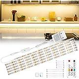 Wobsion Réglette LED 3 m - Blanc chaud - Bande LED - Éclairage d'armoire de cuisine - Barre lumineuse avec télécommande sans