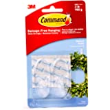 Command 17091CLR-ES Hooks with Strips, Medium, Holds 900 gr. each hook, clear Color. 2 hooks and 4 strips/pack, Decorate Dama