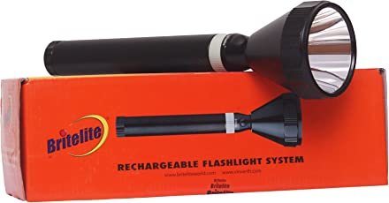 Britelite Long Range LED Rechargeable ARMY TORCH Light - 100% Waterproof + Aircraft Aluminum Alloy Case (Available in Multiple Range)