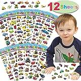 12 arkuszy naklejki na samochód dla dzieci, dzieci zabawne naklejki transportowe z samochodami, samolotem, pociągiem, motocyk