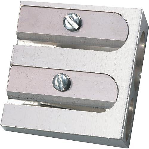 Herlitz 8680324 Temperino Doppio Ingresso, in Alluminio, Adatto per Disegno Tecnico