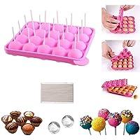 Moules à Lollipop Bonbon Bac à Glaçons Plaque en silicone pour Faire Cake Pop Gâteaux Pâtisserie 20 Moules + 100…