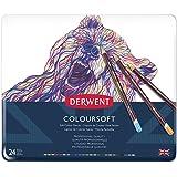 Derwent Coloursoft Glatte leuchtende Farbstifte in Metalldose, 24 Stifte