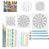 RAIN QUEEN 25Pcs kit de Peinture Mandala Sur Galet Dotting Tools Palette Pochoir Pinceaux Billes Stylet Boule Decorer Pierre