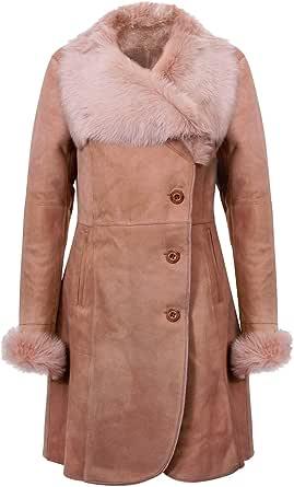 Infnity Leather Cappotto da Donna in Pelle di Montone Merino Shearling Beige Caldo con Collo Toscano