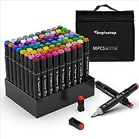Tongfushop 80 Couleurs Marqueurs, Feutres Kit Double Pointe Stylo Marqueur d'Aquarelle, Crayon de Feutre Marker Créatif…
