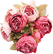 Artificial Peony Silk Flowers Bouquet, Dark Pink