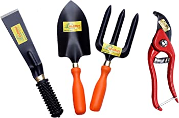 "GLOBUS Garden Tool Set /4 PCS (Big Trowel, Weeder Fork, KHURPA 2"", 8"" Pruner Metal, RED)"