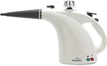 Montiss Handdampfreiniger für Wohnraum, Küche & Badezimmer – reinigt und desinfiziert ohne Chemikalien, für Allergiker, inkl. Zubehör, 1200 Watt