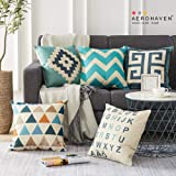 AEROHAVEN Cotton Abstract Decorative Throw Pillow/Cushion Covers (60 x 60 cm, Multicolour) - Set of 5