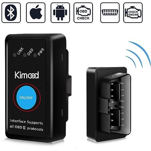 OBD2 Bluetooth 4.0, Kimood Nuova Versione Diagnosi per Auto, Mini Adattatore Wireless Codice Errore di Scansione per Veicolo - Connessione via Bluetooth a Dispositivi IOS, Android e Windows