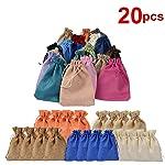 20 PCS Linen Bags, Drawstring Bags, Jewelry Favors Bags, Candy Bag, Burlap Lavender Sachet Drawstring Pouch Flax Cotton...