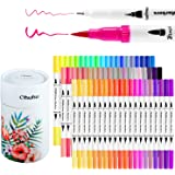 Art Markers Ohuhu 60 Colours Dual Tips Coloring Brush Fineliner Colour Pens, Water Based Marker for Calligraphy Drawing Sketc
