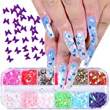 Butterfly Nail Glitter Sequins - 12 Colors Holographic Nail Art Decoration 3D Nail Art Flakes Sparkle Glitter…