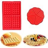 WELLXUNK Molde Gofres Silicona, Moldes Waffle, Galletas para Tarta Muffin Cocina Herramientas, para Lavavajillas, Horno, Micr