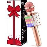 Fede Micrófono Karaoke Bluetooth, Microfono Inalámbrico Karaoke Portátil con luz LED multicolor para Niños Canta Partido Musi