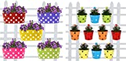 Trust Basket Dotted Oval Railing Planters (Multicolour, Pack of 5) and Trust Basket Round Dotted Railing Planters (Multicolour, Pack of 10)