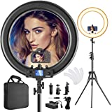 Ring Light,Upgraded Version CRI >97 55W 19inch with LCD Display Adjusted Bi-Color 3000K-5800K,Dimmable Video LED Light Kit,Ma