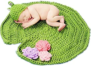 Babymoon (Set of 2) Crochet Playmet with Frog Cap Costume, Baby Photography Props & Floor Playmer